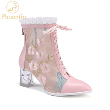 Mesh Boots Embroidery Lolita Shoes Phoentin Pink Summer Crystal-Heels Women Zip Ankle