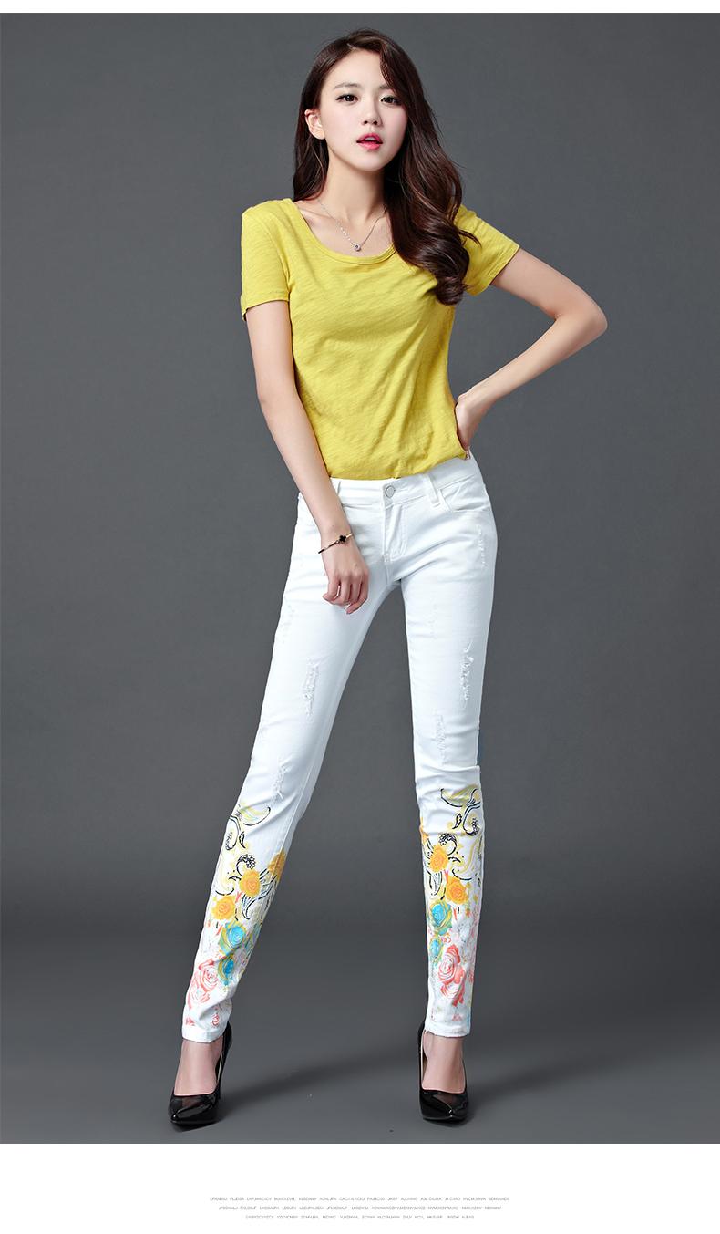 Dongdongta Women Girls White Color Jeans 2017 New Design Summer Original Design Full Length Cotton Mid Waist Skinny Pencil Pants 9