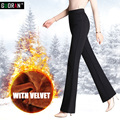 Free Shipping Women's winter Corduroy Boot Cut Pants Female high Waist Business casual Candy Color flares Corduroy Trousers