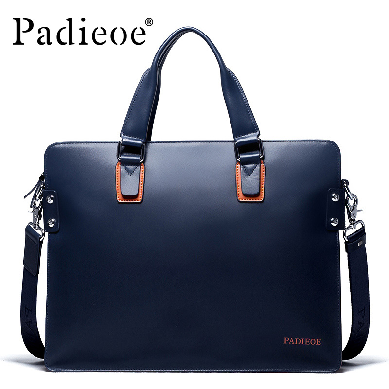 Padieoe New Fashion Genuine Leather Bag Business Men Messenger Bags Luxury Brand Men Briefcases New Designer Male Laptop Handbag padieoe new arrival luxury genuine cow leather men handbag business man fashion messenger bag durable shoulder crossbody bags