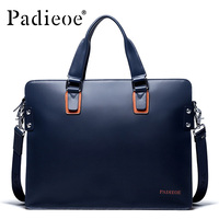 Padieoe New Fashion Genuine Leather Bag Business Men Messenger Bags Luxury Brand Men Briefcases New Designer Male Laptop Handbag