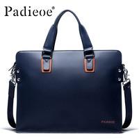 Padieoe New Fashion Genuine Leather Bag Business Men Messenger Bags Luxury Brand Men Briefcases New Designer Male Laptop Handbag
