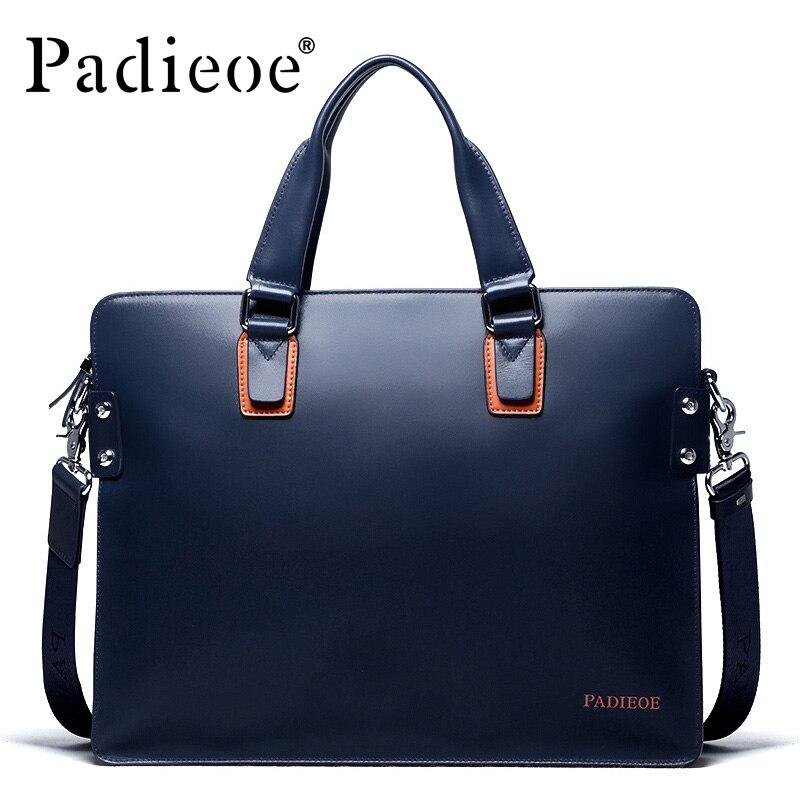 Padieoe 새로운 패션 정품 가죽 가방 비즈니스 남자 메신저 가방 럭셔리 브랜드 남자 서류 가방 새로운 디자이너 남성 노트북 핸드백-에서서류 가방부터 수화물 & 가방 의  그룹 2