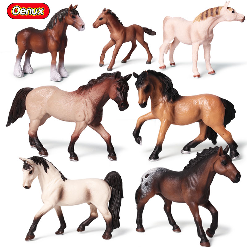 Oenux Original Horse Animals Model Action Figures Classic Lusitano American Quarter Horses Figurines Collection Toy For Kids starz appaloosa horse model pvc action figures animals world collection toys gift for kids