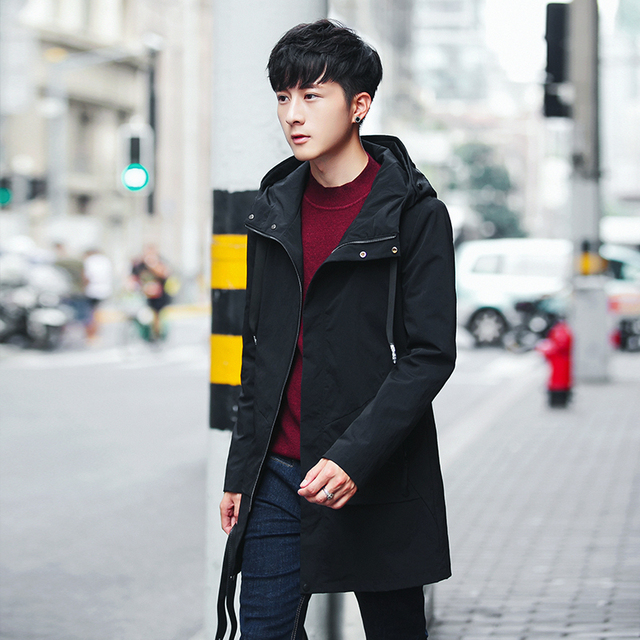 2017 Fashion men's Long trench coats men Can Male Even Hat Windbreaker Thicken Cashmere overcoat Free shipping