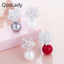 QooLady Trendy Beautiful Sparkling Snowflakes Cubic Zirconia Stones Rose Gold Big Pearl Stud Earring Jewelry for Women E001
