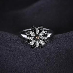 Image 3 - JewelryPalace Flower Genuine Smoky Quartz Black Spinel Ring 925 Sterling Silver Rings for Women Silver 925 Gemstones Jewelry