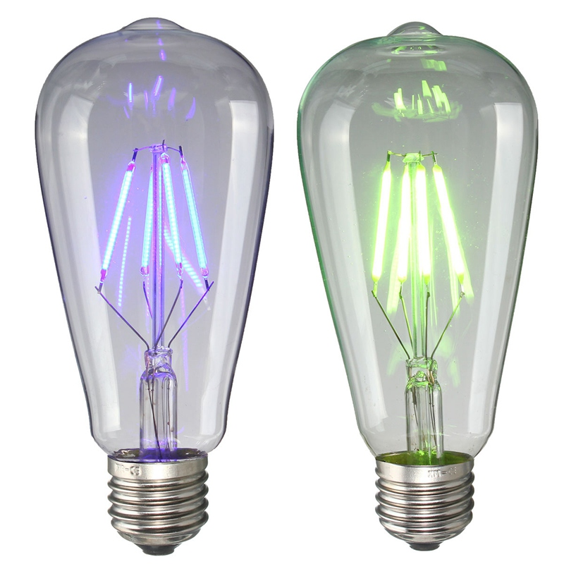 New COB LED Lamp Bulb E27 ST64 4W Colorful Filament Edison Retro LED Light Bulb 220V Energy Saving Home Decor Holiday Lights 220v home lighting colorful led bulb ampoule e27 3w energy saving light red orange yellow green blue milk pink lamp smd2835