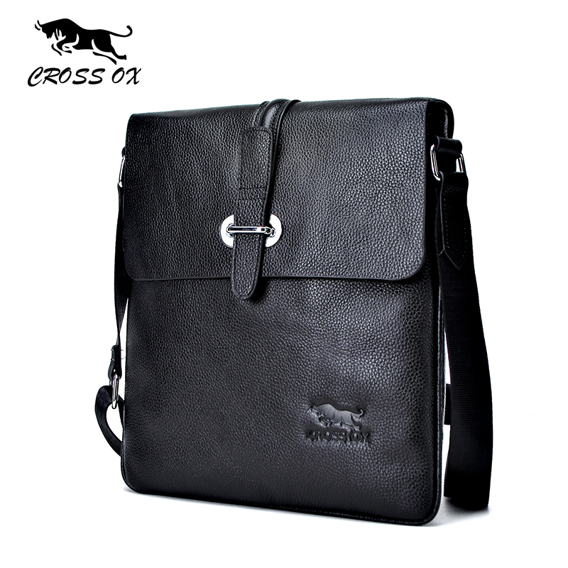 купить  CROSS OX Men's Genuine Leather  Messenger Bag Shoulder Bags For Men Cross Body Bag iPad Portfolio Casual Solid Bag SL366M  недорого