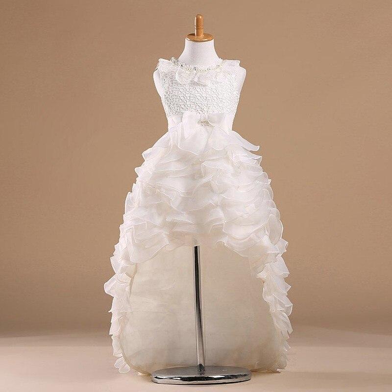 Robes de princesse blanche pour les mariages robe de fête pour filles avec un Long Train pour les petites filles
