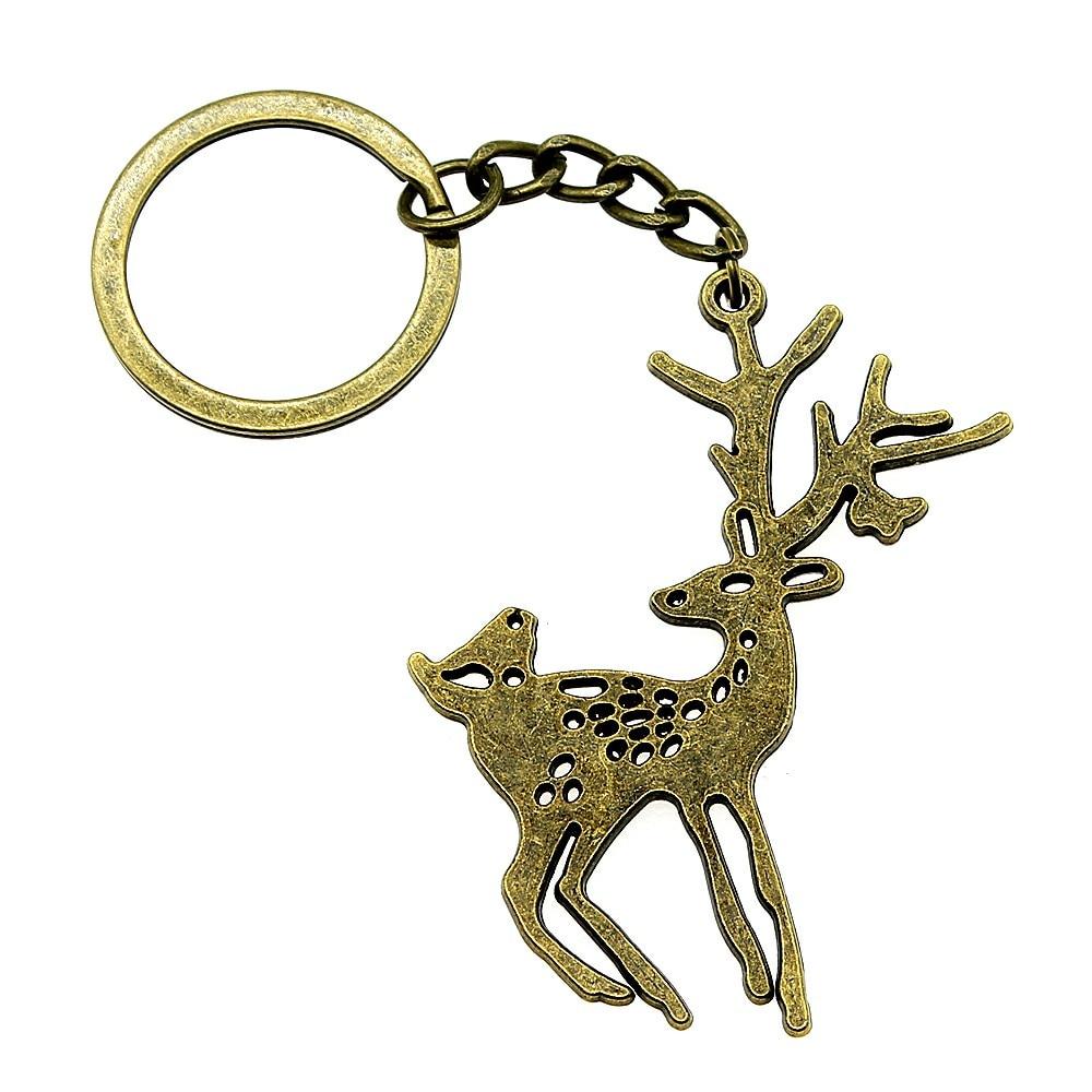 1 Stück Keychain Für Auto Deer Nette Geschenke Für Männer Glücklich Geburtstag 60x47mm Anhänger Antike Bronze Online Shop