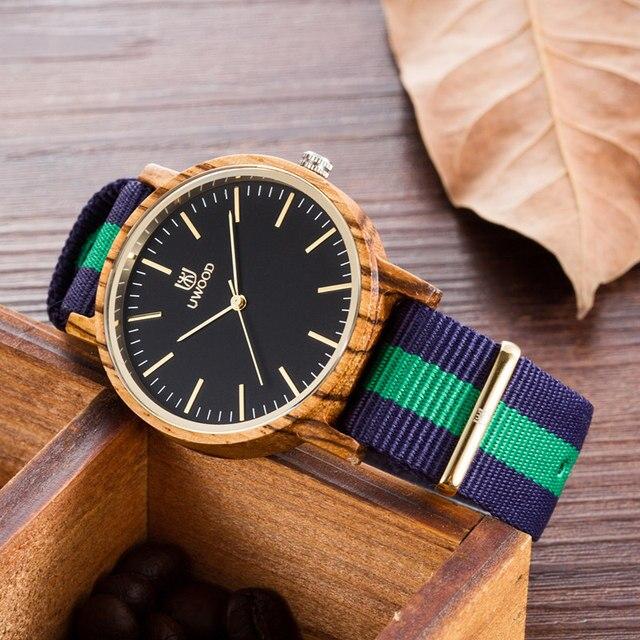 Zegarek drewniany UWOOD Shell Stripes