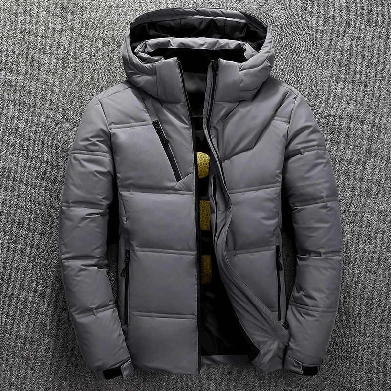Зимняя новая мужская пуховая куртка повседневная мужская Толстая Съемная шапка белая пуховая куртка с капюшоном мужская однотонная теплая верхняя одежда на молнии топы
