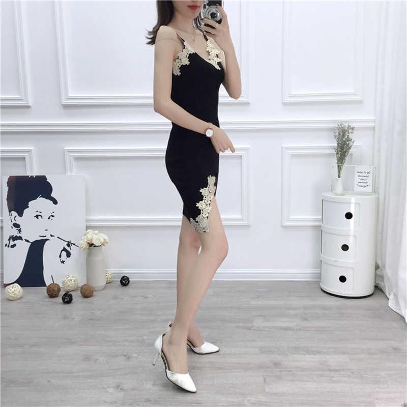 Waman Dress Knit Nightclub Women'S 2019 Spring And Summer Models Sexy Low-Cut V-Neck Lace Slit Dress