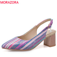 MORAZORA 2019 wholesale big size 33 48 women pumps pointed toe spring summer shoes unique buckle square high heels shoes woman