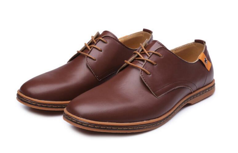 2018 Leather Casual Men Shoes Fashion Men Flats Round Toe Comfortable Office Men Dress Shoes Plus Size 39-46