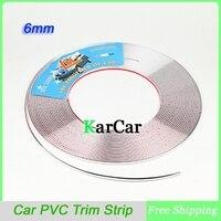 15M 6mm Width Car PVC Trim Strip Interior Strip Impact Grille Exterior Side Silver Styling Bumper
