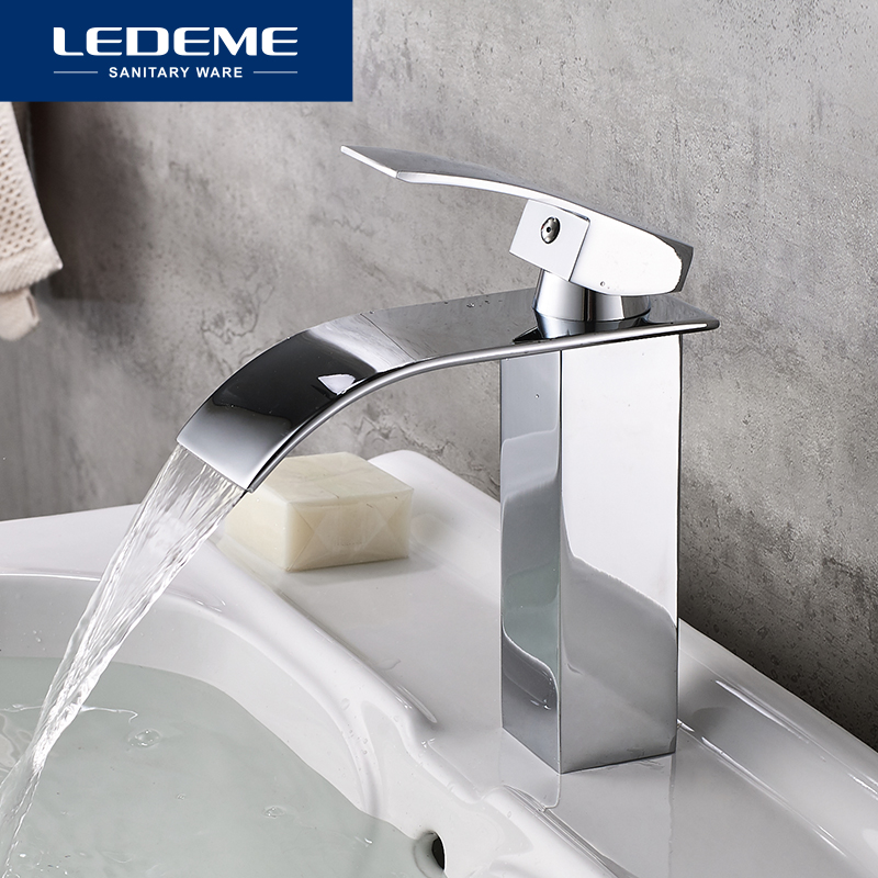 LEDEME New Brass Basin Faucet Flat Waterfall Design Deck Mounted Single Holder Single Hole Bath Basin Faucets Bathroom Mixer TapLEDEME New Brass Basin Faucet Flat Waterfall Design Deck Mounted Single Holder Single Hole Bath Basin Faucets Bathroom Mixer Tap