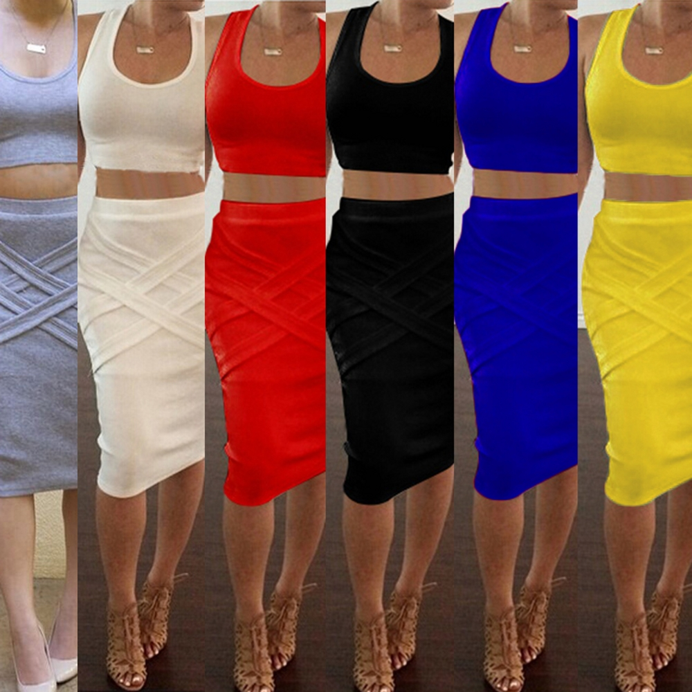 2Pcs Set Sexy Women\'s Bandage Bodycon Pencil Dress...