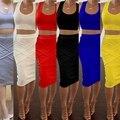 2Pcs Set Sexy Women's Bandage Bodycon Pencil Dress Lady Sexy Party Cocktail Clubwear Slim Dress 6 Color VD8004
