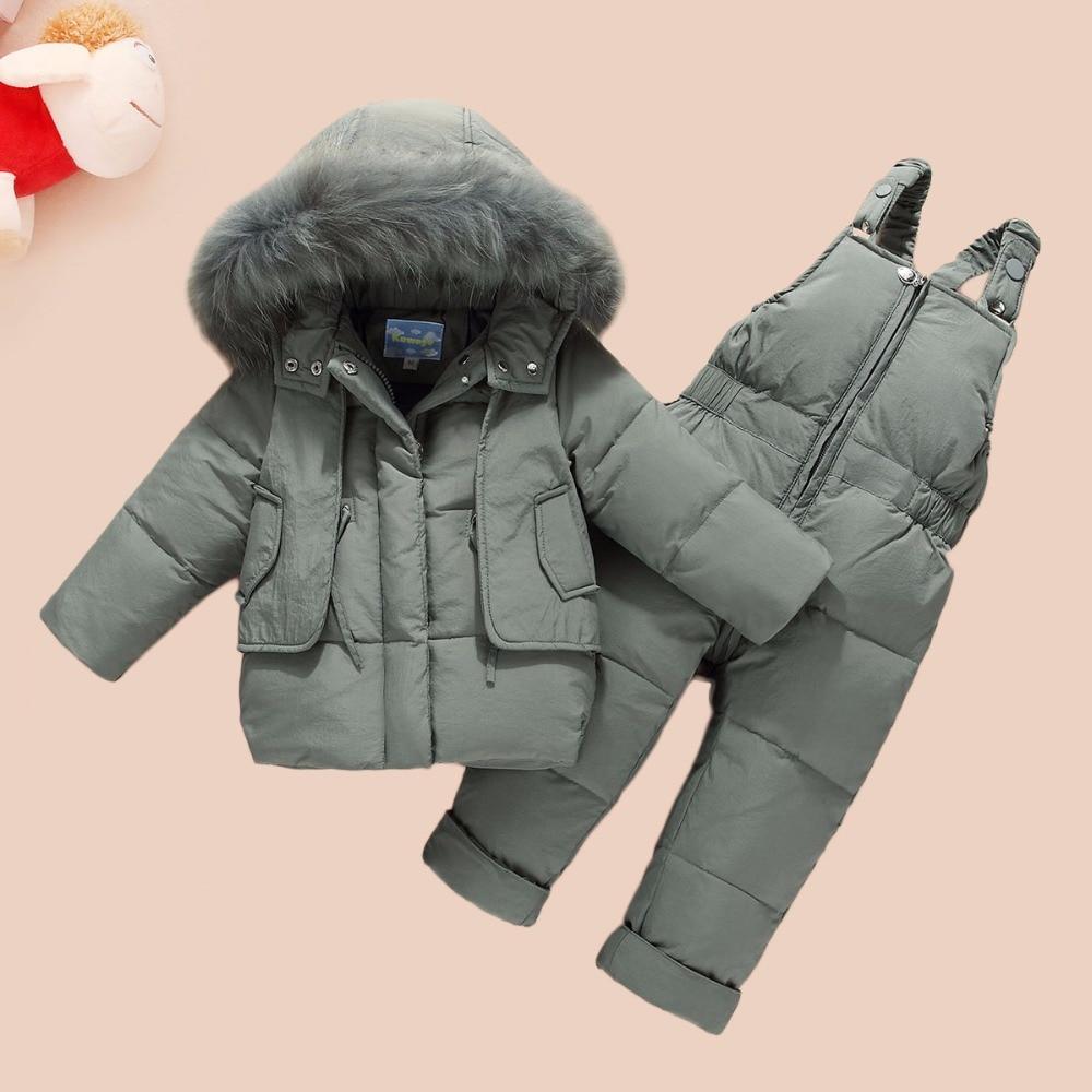 HSSCZL NEW Children Clothing Set Jumpsuit Snow Jacket+bib Pant 2pcs Set Baby Boy Girls Duck Down Jacket Coat With Fur Hood 0 3A