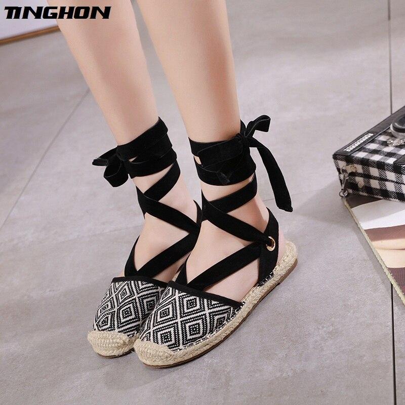 New Summer Geometry Women Espadrilles Ankle Strap Platform Sandals Lace Flower up Flat