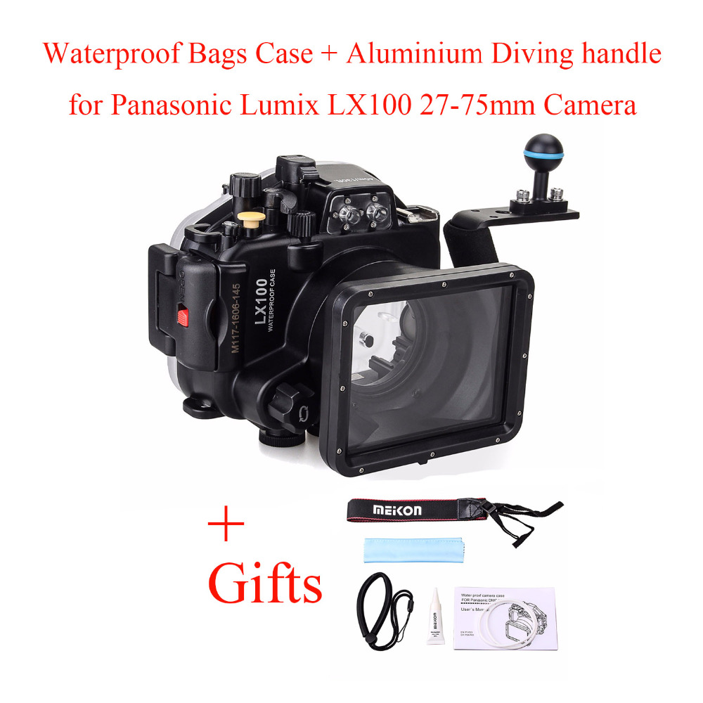 Meikon 40M/130ft Underwater Camera Housing Case for Panasonic <font><b>Lumix</b></font> <font><b>LX100</b></font> with 27-75mm Lens,Waterproof <font><b>Bags</b></font> Case+ Diving handle image