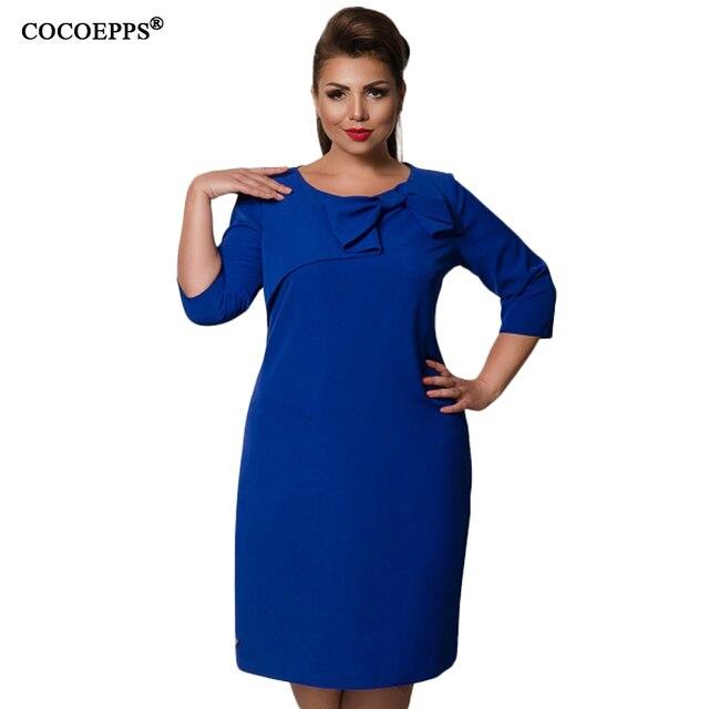 Cocoepps 2018 осенне-зимние новые женские платья сплошной плюс размер элегантный бант дамы платье Мода Большой размер три четверти vesitides