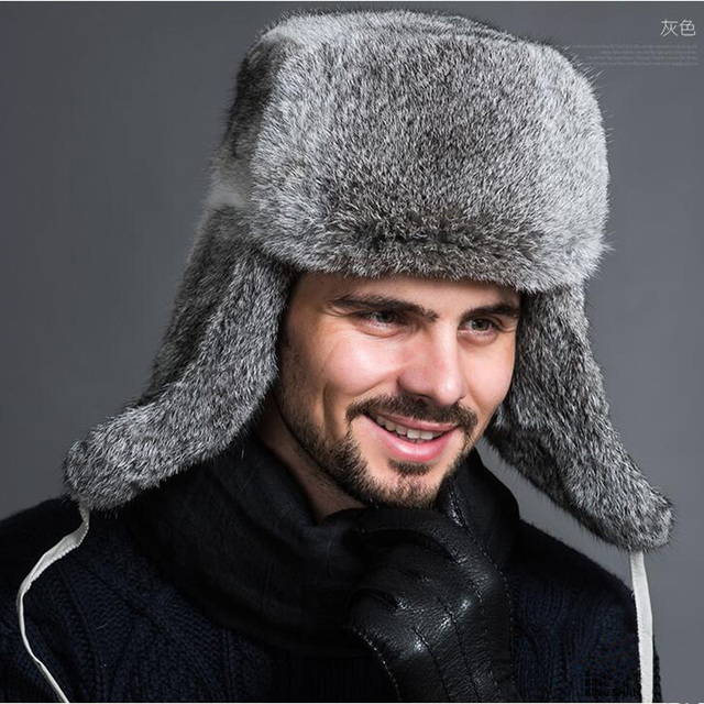 1d891fcf07c2 JKP Natural rabbit fur Lei Feng hat men's hat autumn and winter warm  thickening fur real rabbit hair ear cap 2018 new discount