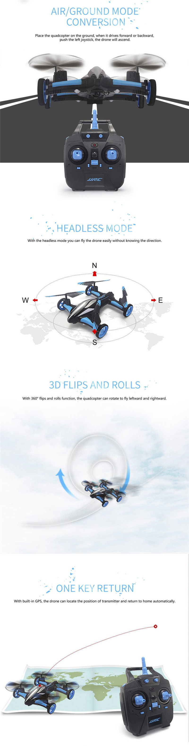 JJRC H23W Air Ground Flying Car 0.3MP Wifi Camera 2.4G 4CH 6Axis 3D Flips One Key Return RC Drone Quadcopter Toy RTF