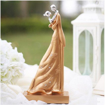 Sweet Couple Elegant Gold Wedding Cake Topper Figurines Bride And Groom Customize Name
