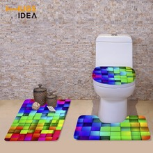 HUGSIDEA 3Pcs/Set Lid Toilet Seat Cover Pedestal Rug Bathroom Mats Set for Toilet Household Cool 3D Plaid Toilet Bowl Mat Set