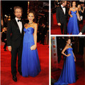 Vestidos De Jessica Alba Dress Long Blue Sweetheart Empire Evening Dress Vestidos Celebrity Party Gown 2017 Hot Sale