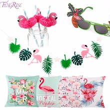 FENGRISE Flamingo Party Supplies Hawaii Beach Sunglasses Summer Drinking Straws Balloons Unicorn Ballon
