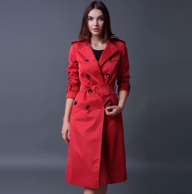 online store aacf8 71566 Europäische frühling herbst damen lange trenchcoat für frauen mit langen  ärmeln coats weibliche mantel frau jaqueta feminina rot