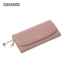 ISHARES Genuine Leather Solid Hasp Purse With Drill Fashion High Quanlity Calf Long Wallets Women Cow