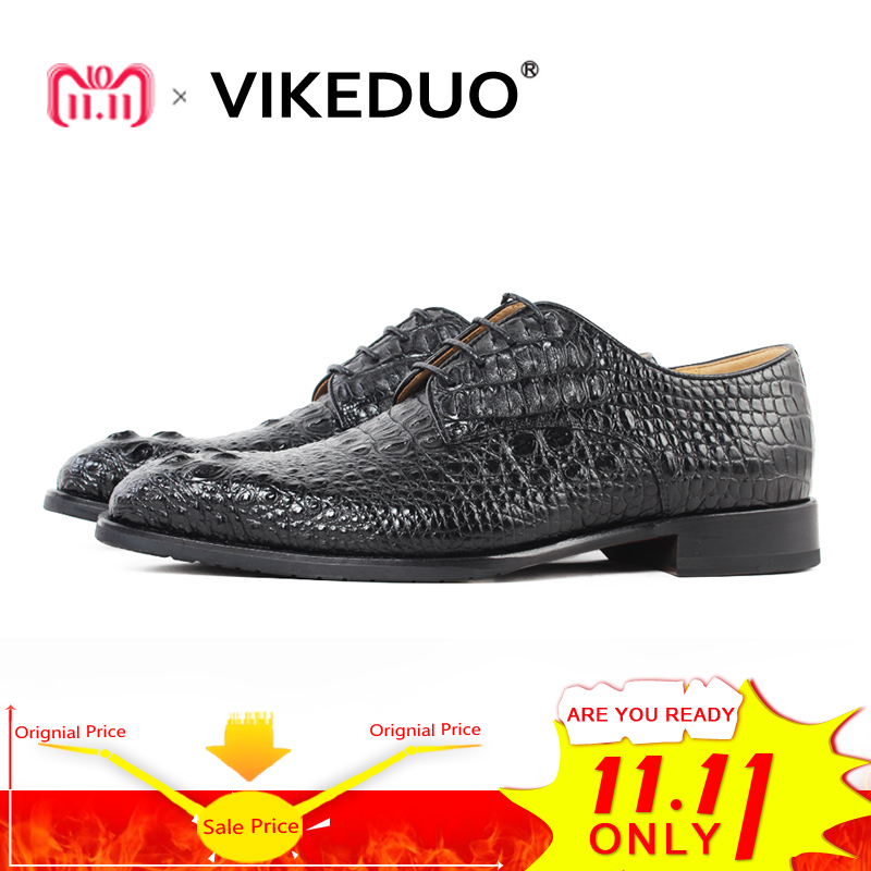 Vikeduo 2018 Hot Luxury Handmade Black Crocodile Shoes Male Designer Genuine Leather Dress Wedding Party Shoe Mens Derby Shoes new arrival mens fashion wedding party dress genuine leather derby shoes breathable lace up oxfords shoe crocodile pattern male