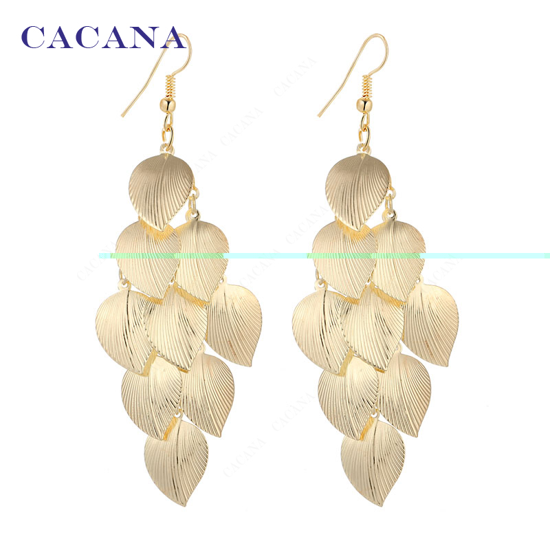 2016 new CACANA gold plated dangle long earrings for women bijouterie hot sale No.A706A707