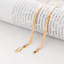 Classic blade chain plated filled gold couple necklace thin whip necklace gold and silver wedding gift(China)