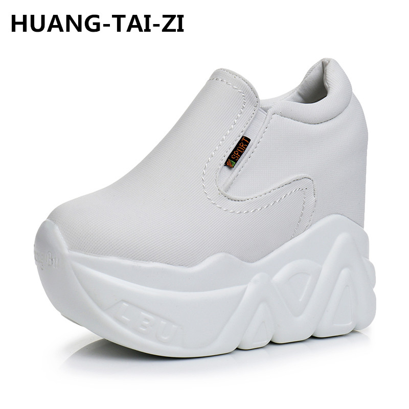 Canvas Women Casual Platform Shoes Fashion High Heels Shoes Woman Wedges Women Shoes Loafers Heigh Increasing zapatos mujer