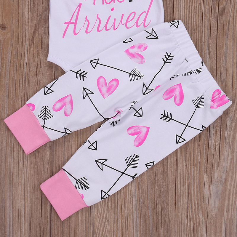 0 24M Newborn Baby Girl Princess Clothes Long Sleeve Cotton Romper Bodysuit Arrow Pant Trouser Hat 3PCS Outfits Clothing Set in Clothing Sets from Mother Kids
