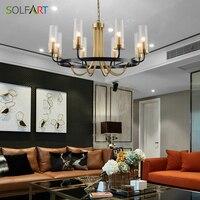 Люстры освещение для столовой мовременная стеклянная лампа тени чистая медь золотые подвески для арматура для люстры
