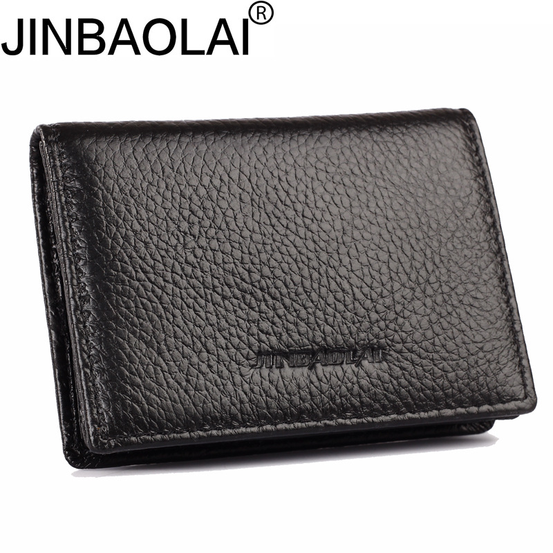 Bank ID Business Credit Genuine Leather Card Holder Women Men Wallet Male Purse Case Cover On Bag Pocket Portmann For Cardholder