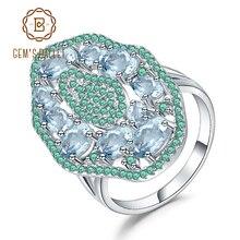 GEMS בלט 3.65Ct טבעי שמיים כחול טופז הפרזה טבעת 925 סטרלינג רסיס חן בציר טבעת עבור נשים המפלגה תכשיטים