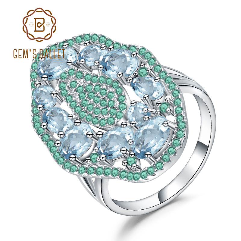 GEM'S BALLET 3.65Ct Natural Sky Blue Topaz Hyperbole Ring 925 Sterling Sliver Gemstone Vintage Ring For Women Party Fine Jewelry