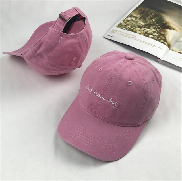 fe95092d Belababy 2017 Dad Hat Solid Washed Baseball Caps Women Men Bad Hair Day  OOPS Letter Embroidery Couple Cap Pink Black Trucker Hat