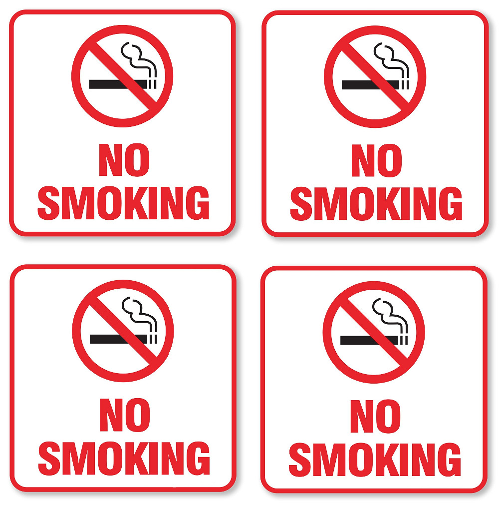 4 шт./лот 5.5x5.5 No Smoking знак самоклеющейся виниловой длительный наклейка УФ-защитой и Водонепроницаемый наклейки для автомобиля # sgb-6