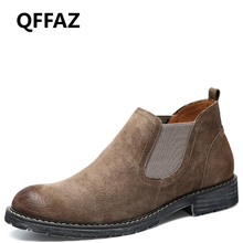 QFFAZ winter boots leather Men Fur Autumn Winter Shoes genuine leather flat ankle boots Motorcycle Men Warm Casual Men Boots