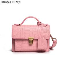 2017 new quality leather, pink, small bag, lady, oblique shoulder bag, fashion crocodile, temperament chain, female leather bag