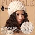 Трикотаж мех норки кепка подлинная мех норки шляпы женщины тёплый мех шапочки OEM зима мех шляпа и шапки
